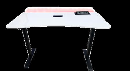 BIURKO GAMINGOWE dla GRACZY EasyDesk PRIMELED WHITE - sterowane elektrycznie