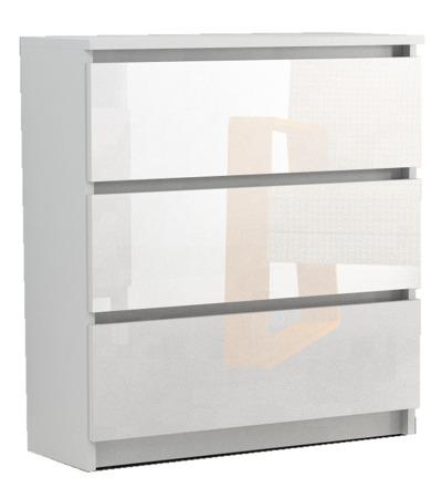 Komoda Rico 3 szuflady biała z połyskiem 80cm