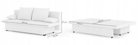 Sofa Sony 1 rozkładana sofa z funkcją spania kolor czarno-biały, 3 osobowa