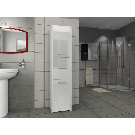 Szafka łazienkowa, słupek, kolor biały, połysk akryl, Luna 40 cm, 3 drzwiowa